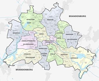 Berlinkarte - Bezirke & Ortsteile